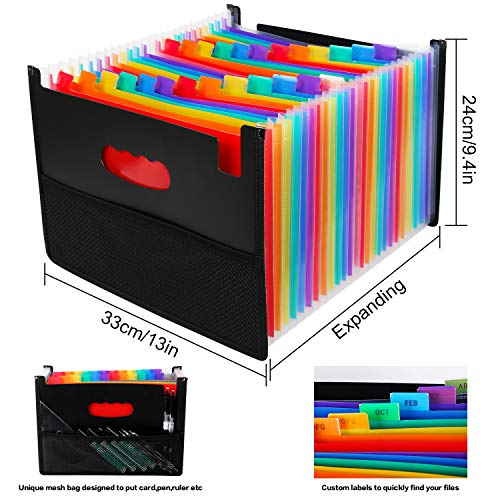 26 Pockets Accordian File Organizer,Expanding Filing Box with Mesh Bag,Accordion File Folders Expandable Cover,Portable Paper/Bill/Receipt/Document Organizer with 3 A-Z Alphabet Tabs(A4/Letter Size ) Photo #4