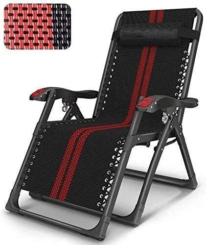 Living Equipment Inclined Zero Gravity Sunbed Chaise de jardin inclinable adaptée à la véranda Veranda Garden Terrace Lawn Chaise de camping portable prend en charge 200 kg (couleur: noir sans cous