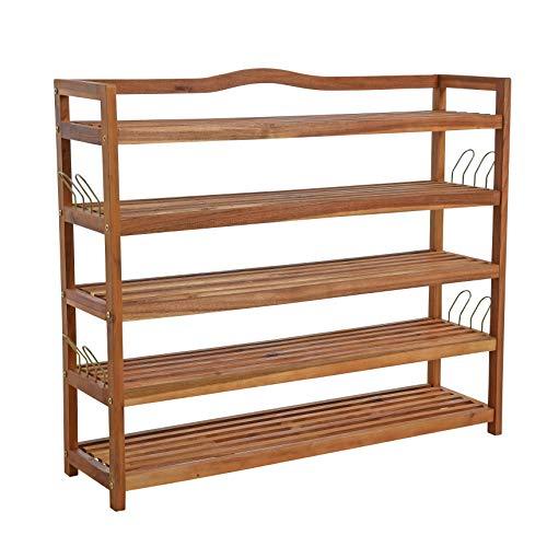 ESTEXO Holz Schuhregal mit 5 Etagen, 94x26x82 cm, Schuhschrank, Regal, Schuhablage, zum aufhängen mit Haken, Akazie