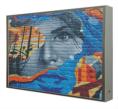 Cuadro con Marco Madera Lacada en Blanco con Luz Leds Arte Urbano: Detroit