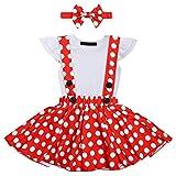 FYMNSI - Conjunto de Ropa de Punto para bebé + Falda con Tirantes + Cinta para la Frente, 3 Piezas, Vestido de Princesa, cumpleaños, Vestido de Fiesta, 0-24 m Blanco 6-12 Meses
