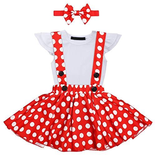 Falda para bebé y niña, ropa de verano, falda de lunares, con lazo y cinta para la frente, para cumpleaños, Navidad, fiestas, 0-3 años Blanco 12-18 Meses