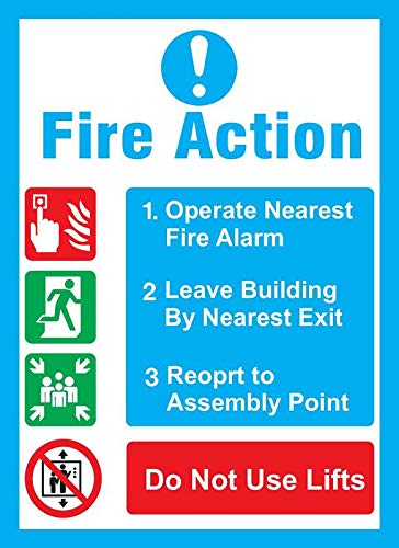 CHD GRAPHIC safty Board in case of Fire What to do Action Sign Board Self Adhesive Vinyl Size: 28 cm X 20.32CM