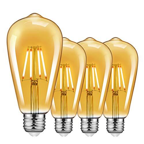 E27 Edison Light Bulbs 4 Pack, 4W Dimmable Screw Bulb Vintage LED Filament...