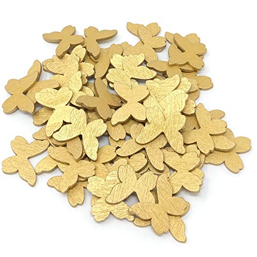 Lot de 100 confettis en bois en forme de papillon style shabby chic Doré 20 mm
