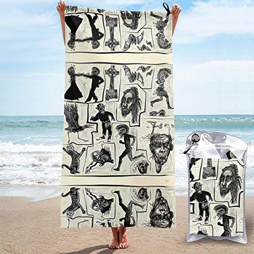 Juego de Toallas de Playa sin Arena Horror - Toallas de Playa de Secado rápido Dibujadas a Mano Toalla de baño Toalla de Playa de Viaje, Toalla Deportiva de natación para Mujeres y Hombres