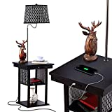 Brightech Madison - Narrow Nightstand with Built in Lamp, USB Port & Shelves for Bedrooms...