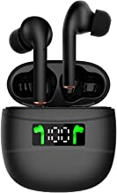 Rocxf Latest Upgrade Bluetooth 5.2 True Wireless Earbuds with Led Display Charging Case Waterproof Earbuds 40 Hours Playtime Built-in Mic Earbuds HiFi Premium Sound with Deep Bass for Sport,Black