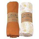 Organic Muslin Swaddle Blanket Oliver & Rain, Newborn Baby Girl, Kangaroo Leaf & Sunset Brown 2 Pack