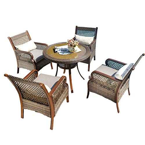 XLOO High grade Outdoor Patio Dining Table Set,5-Piece PE vine Deep-Cushioned Dining Set Outdoor Furniture, Aluminum frame, imitating wood grain glass table top with umbrella hole in the middle. XLO