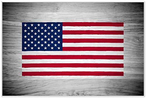 Wallario Wandbild USA Flagge auf Holz in Premiumqualität mit weißem Rahmen, Größe: 61 x 91,5 cm