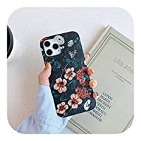HUJEA ヴィンテージフラワーパターン耐衝撃電話カバーfor iPhone 12 Mini 11 Pro Max X XR XS Max 7 8 7Plus Soft Silicone IMD case-T7-for iPhone 12mini