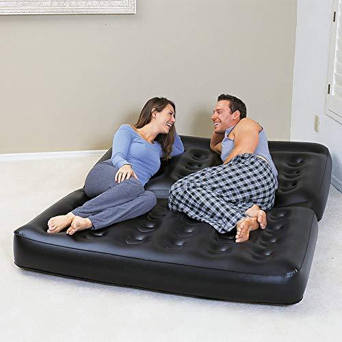 ZLZL 5-In-1 opblaasbare slaapbank verdikt multifunctionele Flocked Surface Double Air-Bed Mattress Lounger - uitschuifbaar bed (5-In-1 Lounger) Withoutpump