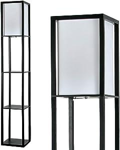MiniSun – Lampada da terra moderna e nera di legno e tessuto bianco con mensole integrate – Lampada da terra con mensole