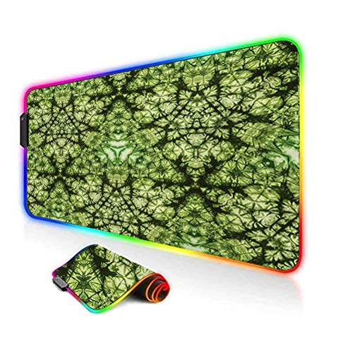 RGB Gaming Mouse Pad Mat,Free Abstract Nature Inspired Mind Bind Folded Color Silhouette Counter Culture Artsy Non-Slip Mousepad Rubber Base,35.6'x15.7',for MacBook,PC,Laptop,Desk Green