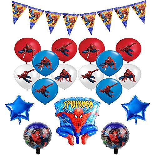 smileh Decoracion Cumpleaños Spiderman Globos Pancarta Globos de Papel de Spider Man para Niños Niñas Decoraciones de Fiesta Cumpleaños Banderín Globos de Látex