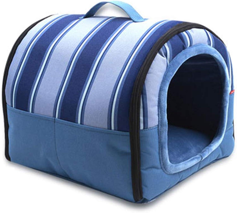 Pet Nest Soft Portable Dog Foldable Pet Kennel Indoor Outdoor Waterproof Pet Home S L bluee (Size   40×33×30cm)