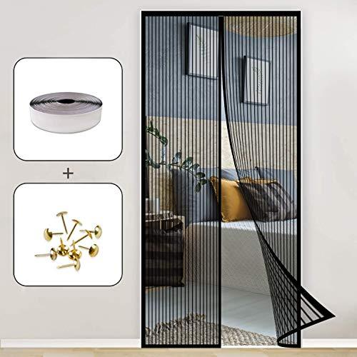 GOUTUI Magnetic Screen Door 110x210cm Lets Fresh Air in Portable Screen Door Auto Close for Kitchen/Bedroom/Air Conditioner Room, Black A