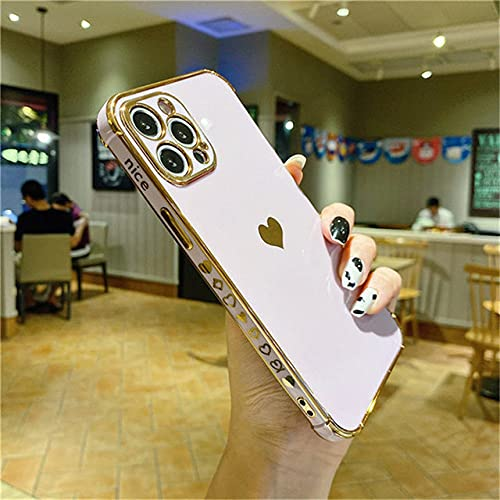 Funda de teléfono con Marco de corazón de Amor electrochapado para iPhone 11 12 Pro Mini MAX X XR XS MAX 7 8 Plus SE 2020 Funda Protectora a Prueba de Golpes, PR, para iPhone 8 Plus