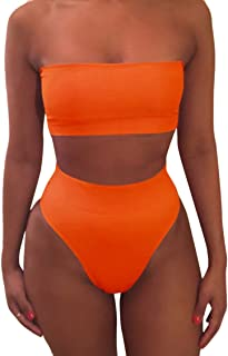 8fbfcd3cc3 Pink Queen Women's Removable Strap Wrap Pad Cheeky High Waist Bikini Set  Swimsuit