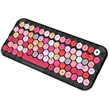 Wireless Bluetooth Keyboard, Universal Compact Wireless Keyboard with Hexagon Keycaps for MAC/iOS, Windows, Android Smartphones, Tablets, Laptops and More (Black + Candy Colors)