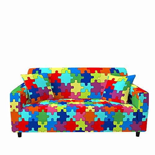 Funda para Sofá de 1/2/3/4 Plazas, Chickwin Universal 3D Puzzle Patchwork Impresión Antideslizante Tejido Elástico Lavable Extensible Cubierta Protector de Sofá (Puzzle 4,2 plazas)