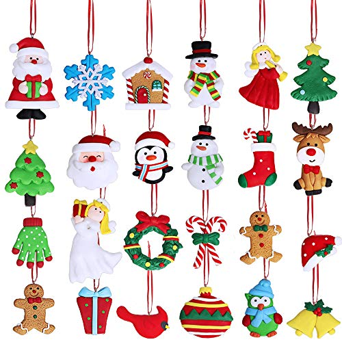 Winlyn Christmas Countdown Advent Calendar Ornaments 24 Set Clay Figurine Ornaments Snowman Santa Angel Reindeer Penguin Doll Hanging Tree Ornaments for Holiday Stocking Stuffers Fireplace Gift Decor