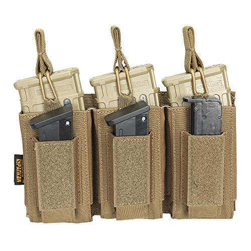 EXCELLENT ELITE SPANKER Open-Top Single/Double/Triple Mag Pouch for M4 M14 M16 AK AR Elastic Kangaroo Rifle Magazines and Pistol Mag Pouch(Coyote Brown)