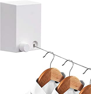 Hoimpro Retractable Clothesline ABS case+Aluminum Dryer with Adjustable Stainless Steel Rope String Hotel Style Heavy Duty,Wall Mounted Method, 13.8 Feets,White