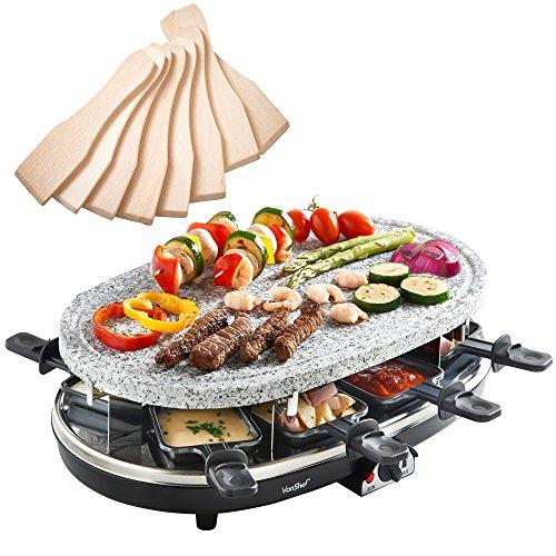 VonShef Raclette Griglia in Pietra Naturale - 8 persone con controllo della temperatura, 8 spatole e 8 mini padelle