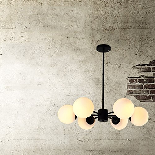 Chandelier Salon Lampes à boules de verre Fer à repasser ( couleur : Noir )