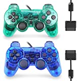 Wired Controller for PS2 Double Shock, 2 Pack Gamepad Remote Compatible with Play Station 2 (Clear Green and Clear Blue)
