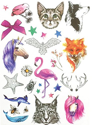 Diertattoo katten flamingo paard vos wolf tattoo om te plakken voor lichaam th023