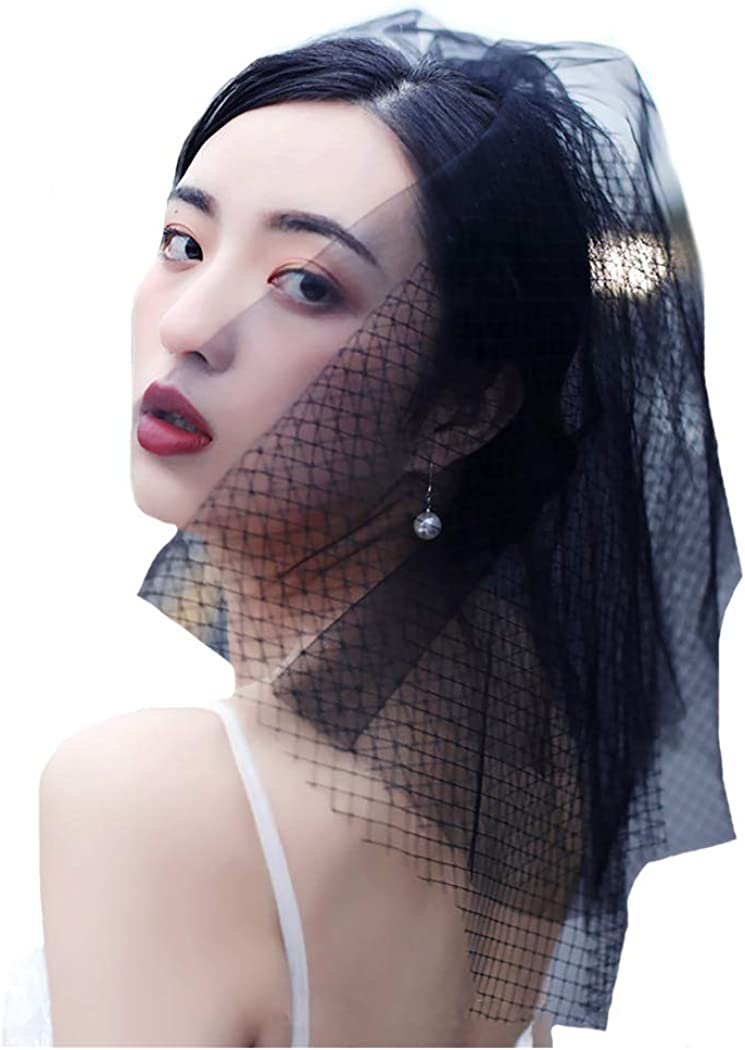 Drecode Layered Black Bridal Wedding Veil with Comb Lace Veils Bride Hair Accessories for Women and Girls