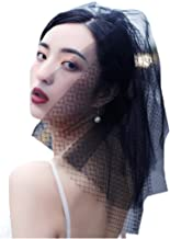 Barode Bride Wedding Veil Black Lace Shoulder Length Hair Accessories with Comb