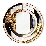 SZJY 16 Piezas Porcelana Juegos de Vajillas, Plato de cerámica Placa Juego de vajilla de Porcelana Bistec Restaurante Temático/Fiesta/Cena Festiva