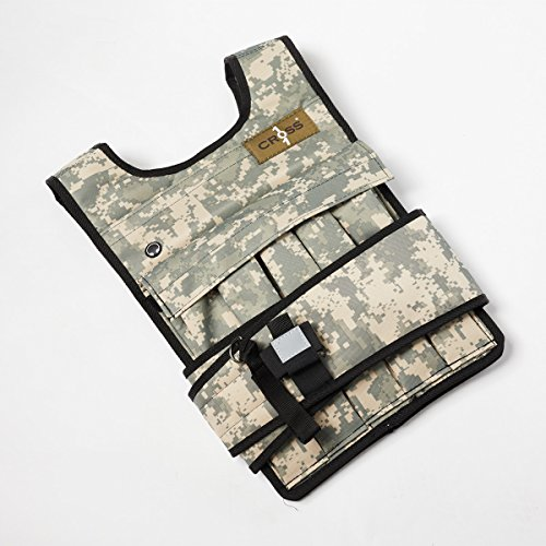 CROSS101 Adjustable Camouflage Weighted Vest with Shoulder Pads, 60 lb