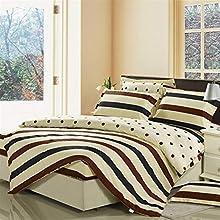 UOUL Juego de sábanas Ropa de Cama de algodón 4 Piezas Rayas Simples Azul Marino No se descolora Confort Dormitorio Juvenil XL King,Stripe-1,XL Full