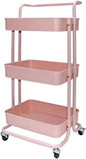 Beaugreen 3-Tier Rolling Cart Storage Shelves Metal Utility Storage Trolley with Handles Wheels for Kitchen Bathroom Office (Pink)