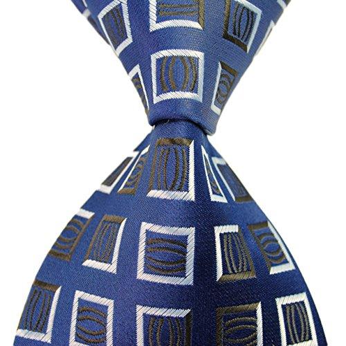 MINDENG Classic Yellow Check Jacquard Woven Groomsman Silk Suit Tie Mens Necktie