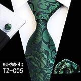Juego de 3 gemelos para hombre, diseño de flores, color verde