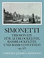 SIMONETTI G.P. - Sonata Op.5 nコ 3 en Sol menor para Flauta de Pico Alto y Bajo (Violin) y Piano