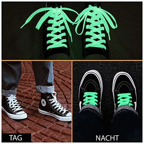 LEINASEN Flache Leuchtende SCHNÜRSENKEL Rund Sneaker, Schuhbänder aus Polyester 99CM - sehr reißfest - Flexible Schuhband zum Einhaken - Made in Europa (100% Polyester)