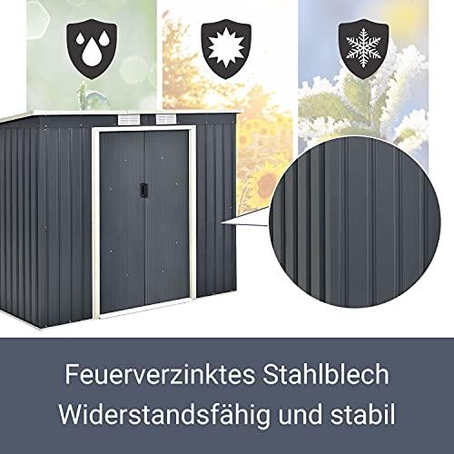 Juskys Metall Gerätehaus M mit Pultdach, Schiebetür & Fundament   4m³   anthrazit   Geräteschuppen Gartenhaus Schuppen Metallgerätehaus - 5