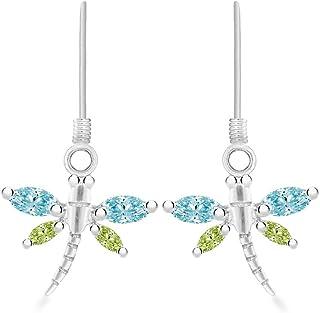 Tuscany 纯银水绿色水晶蜻蜓吊坠耳环