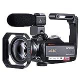 Videocámara ORDRO 4K Videocámara Cámara Ultra 1080P 60FPS Vlog 12X Lente óptica 3.1 '' 'IPS Pantalla Táctil WiFi Cámara Digital Grabadora con Micrófono Lente Gran Angular y Tarjeta SD de 32GB