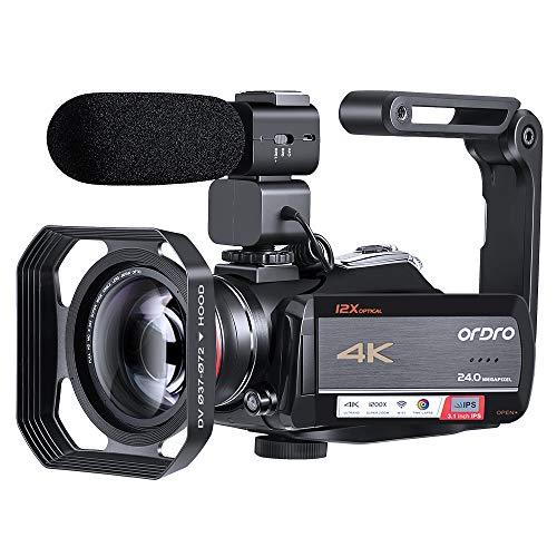 Caméscope ORDRO 4K Caméra Vidéo Ultra 1080P 60FPS Vlog Camera Objectif Optique 12X Écran Tactile IPS 3.1 '' Enregistreur Numérique WiFi avec Objectif Grand Angle Microphone et Carte SD de 32 Go