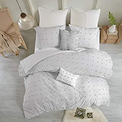 "Urban Habitat Brooklyn 5 Pieces Cotton Tufted Jacquard Bedding Comforter Set For Bedroom, King/Cal King(104""x92""), Grey"