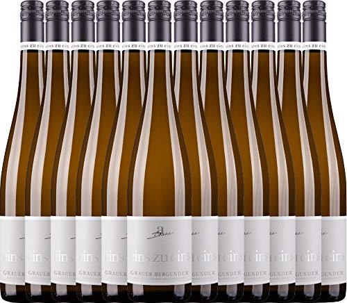 VINELLO 12er Weinpaket Weißwein - Grauer Burgunder eins zu eins Kabinett 2019 - A. Diehl mit Weinausgießer | veganer Weißwein | deutscher Sommerwein aus der Pfalz | 12 x 0,75 Liter