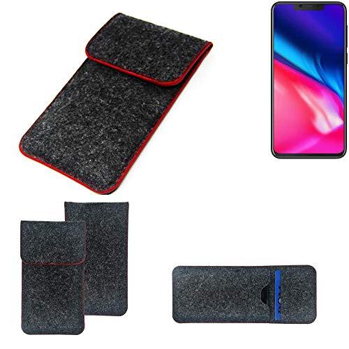 K-S-Trade® Handy Schutz Hülle Für Cubot P201 Schutzhülle Handyhülle Filztasche Pouch Tasche Case Sleeve Filzhülle Dunkelgrau Roter Rand